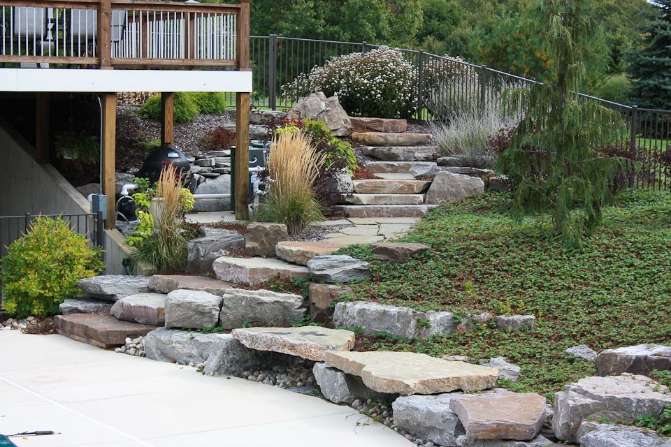 Backyard patios walkway ideas essex outdoor design for Landscaping rocks grand rapids mi
